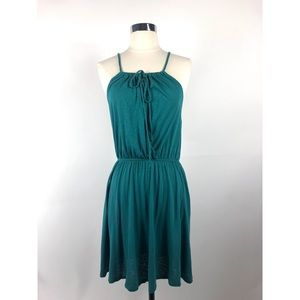 LAMADE Teal Jersey Crossover Dress